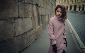 Wallpaper girl, bridge, city, wall, model, clothing, gloves, brown hair, the beauty, fashion, road, coat, young, ...