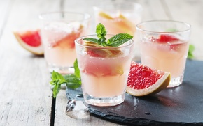 Picture leaves, food, ice, glasses, drink, fruit, mint, grapefruit