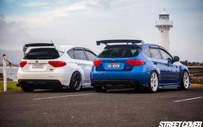 Picture white, subaru, blue, wrx, impreza, Subaru, sti, Impreza