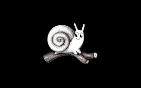 Picture graphics, snail, black and white, log, black background, toon
