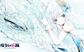 Picture butterfly, dragon, scales, gloves, blue eyes, the bride, veil, Witch`s heart