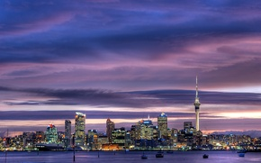 Picture skyscrapers, city, the city, lights, twilight, sky, skyscrapers, Auckland tower, harbour, sky tower, Auckland, city ...