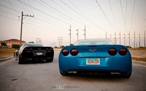 Picture corvette, black, chevrolet, blue