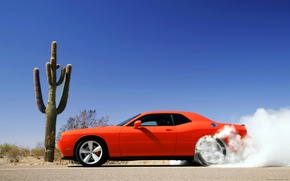 Wallpaper smoke, Dodge Challenger, red car