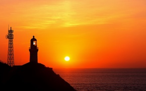 Wallpaper sea, the sun, lighthouse, nothing to do with the second world war and the second ...