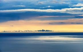 Picture sky, sea, ocean, sunset, seascape, clouds, ship, horizon