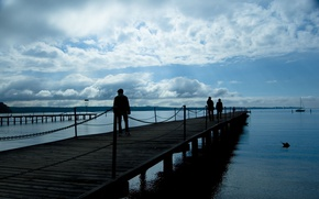 Picture The sky, Clouds, Sea, The evening, Pier, People, Nature, Clouds, Sky, Evening, Sea, Marina, Pier