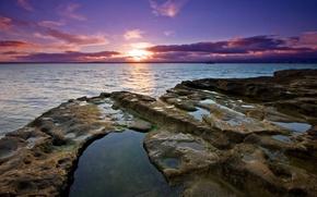 Wallpaper water, sunset, stones