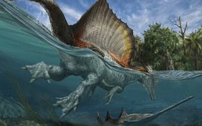 Picture water, fish, dinosaur, prehistoric animals