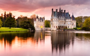 Picture trees, pond, Park, castle, France, Chateau de la Bretesche