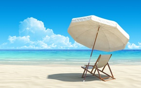 Picture sea, beach, umbrella, chair