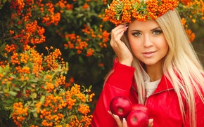Picture look, girl, smile, apples, makeup, wreath, Rowan