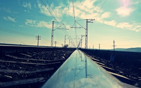 Picture the way, reflection, photo, railroad
