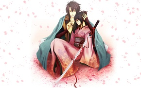 Wallpaper red ribbon, guy, kimono, Sōji Okita, Hakuouki, form, Tidzuru Yukimura, Demons pale cherry, petals, girl, ...