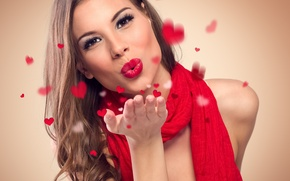 Picture girl, background, makeup, scarf, lipstick, hairstyle, lips, hearts, brown hair, beautiful, in red, gesture, kiss