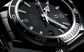 Picture watch, Omega, black and white, Planet Ocean