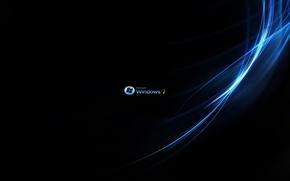 Picture windows 7, aurora, microsoft, black, blue, sign, system, operation