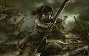 Picture weapons, ships, bow, Tomb Raider, Lara Croft, arrows, game wallpapers, Lara Croft, Tomb Raider, Tomb …