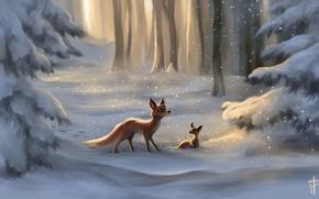 Picture snow, art, tree, Fox, Fox, painted landscape