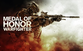 Picture fragments, weapons, smoke, dust, soldiers, machine, helmet, the vest, Medal of Honor: Warfighter