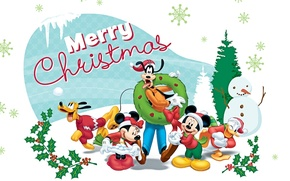 Picture tree, gifts, Mickey Mouse, Mickey Mouse, Mery Christmas, Pluto, Minnie, Donald, Goofy