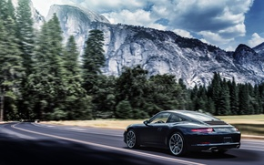 Picture mountains, 911, Porsche, black, Carrera, rear, 991