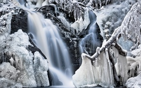 Picture winter, frost, water, snow, trees, nature, rocks, waterfall, icicles, ice, frozen
