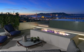Picture city, San Francisco, penthouse, fireplace, furnished