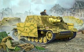 Picture figure, art, SAU, assault gun, Flames of War, German self-propelled artillery, The storm Panzer IV, …