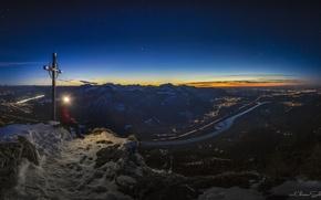 Picture stars, light, sunset, mountains, night, cross, Bayern