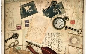 Picture retro, pen, watch, photos, line, keys, vintage, vintage, cards