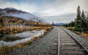 Picture autumn, mountains, nature, railroad