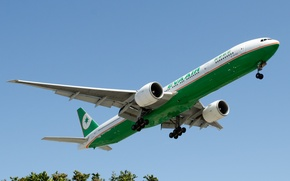 Picture The sky, Trees, Summer, Boeing, Flight, Sky, aircraft, Boeing, 300, 777, Flying, The plane, Landing, ...