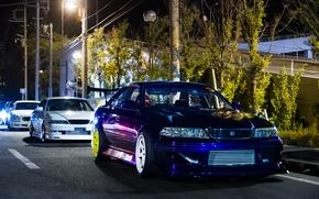 Picture white, night, tuning, Toyota, tuning, Toyota, dark blue, mark 2, mark 2