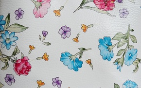 Picture flowers, Wallpaper, leather, petals, relief