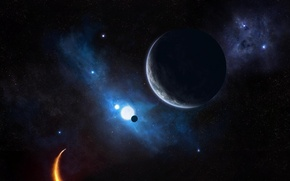 Picture planet, ship, stars, tumannosti