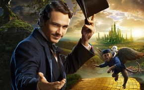 Wallpaper poster, the magician, road, James Franco, monkey, hat, cylinder, James Franco, country, volatile, castle, Oz ...