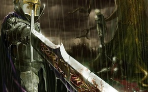 Picture rain, tree, blood, sword, warrior, corpses