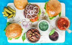 Picture food, sauce, buns, burgers, sandwiches