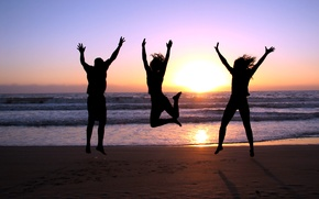 Picture sea, beach, joy, sunset, girls, jump, shore, guy, three