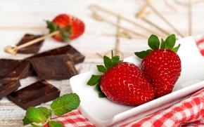 Picture chocolate, strawberry, the refreshment