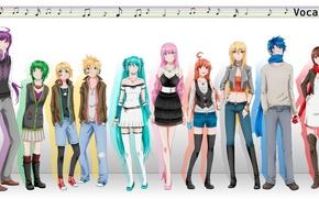 Picture notes, girls, art, guys, vocaloid, hatsune miku, scarf, megurine luka, kagamine rin, Vocaloid, the patch, …