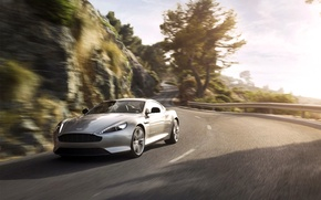 Picture Aston Martin, Auto, Road, Machine, Grey, Asphalt, Silver, DB9, Coupe, Sports car, In Motion