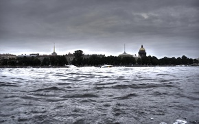 Picture wave, water, river, Saint Petersburg, Cathedral, Neva, Isaac, HDR. spires
