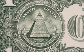 Picture green, dollar, pyramid