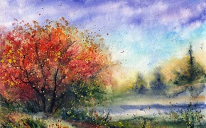Picture road, flowers, birds, tree, watercolor, painted landscape