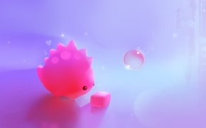 Picture pink, dinosaur, art, cube, cube, bubble, heart, apofiss