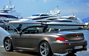 Picture Marina, yachts, cabrio, BMW M6, metallic grey, carbolit