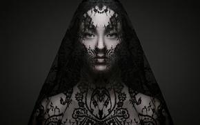 Picture girl, face, pattern, veil, simetriya