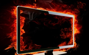 Picture fire, flame, Monitor